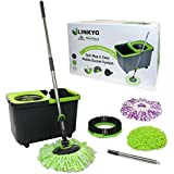 LINKYO Spin Mop and Bucket System - 360 Spinning Stainless Steel Wringer & Washer with Rolling Wheels