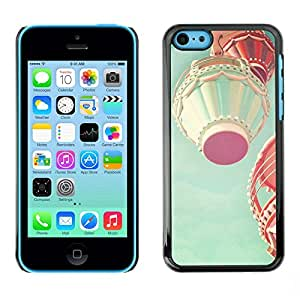 Omega Covers - Snap on Hard Back Case Cover Shell FOR Apple iPhone 5C - Hot Air Balloon Teal Pink Peach Vintage