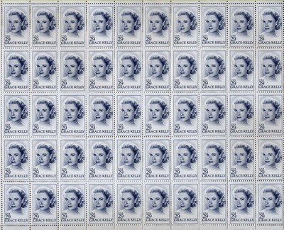 Grace Kelly Full Sheet of 50 x 29 US Postage Stamp Scot #2749