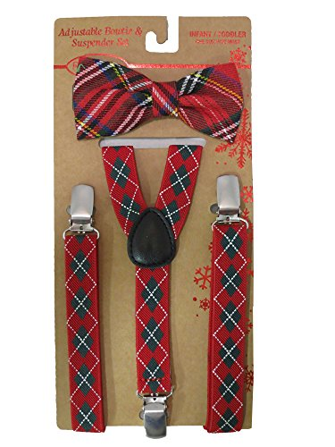 Rising Star Adjustable Diamond Patterned Bowtie and Suspenders Set - Infant/toddler [5012]