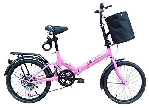 "Review 20"" Folding Bicycle 6 Speed Light Weight Foldable Bike Pink"