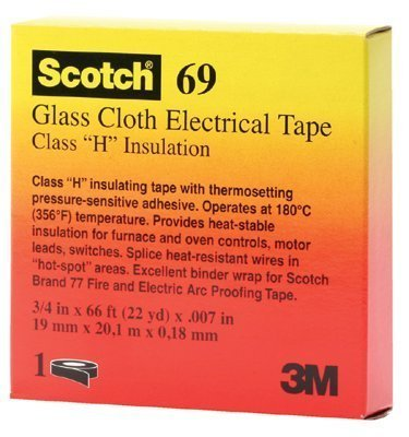 "(3M 69-3/4""X66') (3M Id Number 80018003600) Scotch(R) Glass Cloth Electrical Tape 69-3/4""X66', White, Silicone Adhesive, 3/4 In X 66 Ft (19 Mm X 20,1 M), 50 Per Case [You Are Purchasing The Min Order Quantity Which Is 10 Rolls]"