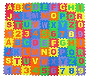Amazon.com: Alphabet Letters & Numbers Educational Foam Puzzle Floor Mat for Kids + 72