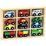 12 Pcs Wooden Train Cars & Emergency Vehicles Collection Fits Thomas, Brio, Chuggington