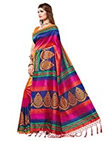 #9: e-VASTRAM Womens Mysore Silk Printed Saree With Tassel/Kutch (NSTASSELMULTI_Multi)