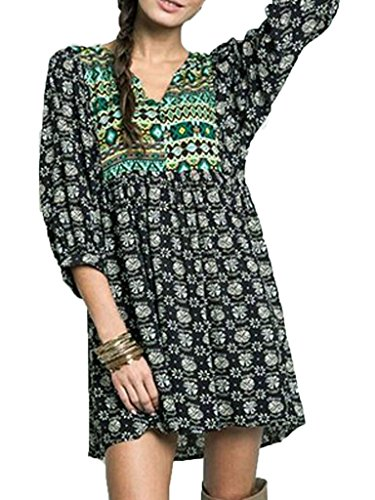 Choies Women's Casual Tribal Boho Peasant Tunic or Babydoll Mini Dress
