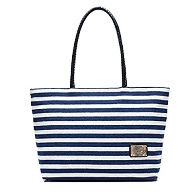 Millya Women Ladies Summer Beach Handbags Stripe Tote Canvas Shoulder Zipper Bag by Millya