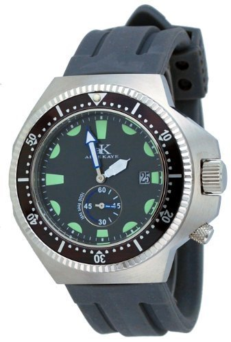 Adee Kaye #AK7235-MRB Men's Deep Buceo Stealth Collection Stainless Steel Silicone Rubber Band 300M Dive Watch