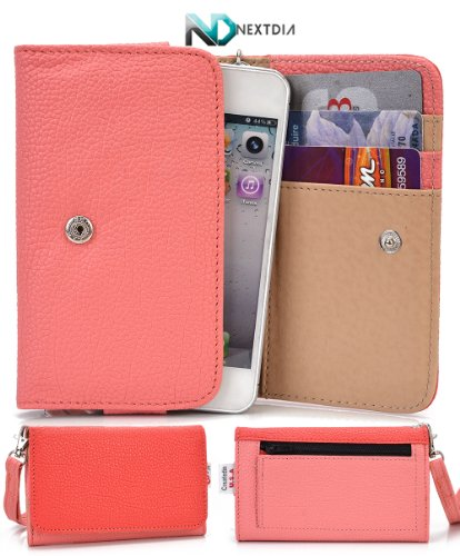 Samsung Galaxy Fame S6810 Phone Wallet Cover Case (Coral Clay Pale Pink) + Nd Velcro Tie front-1032664