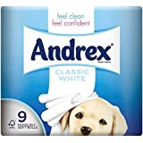 Andrex White Toilet Tissue - 9 x Pack of 5 (45 Rolls)