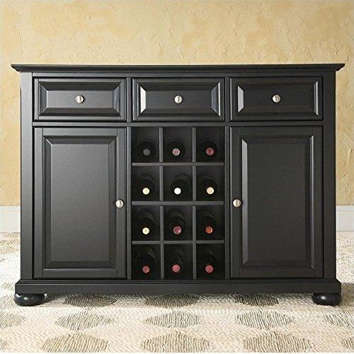 Crosley Furniture Alexandria Buffet Server/Sideboard Cabinet with Wine Storage, Black (Crosley Wine Cabinet compare prices)