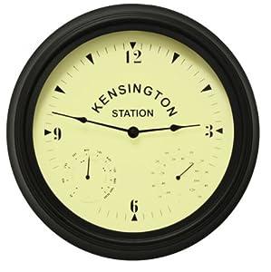 KENSINGTON 30CM GARDEN OUTDOOR INDOOR HOME WALL CLOCK THERMOMETER HYDROMETER