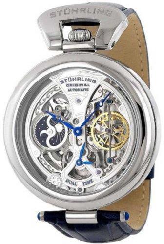 Stuhrling 127A 3315C2 Emperor Grandeur Automatic Open Skeleton Dual Mens Watch