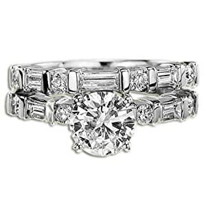 3.11 ct F VS1 Round Diamond Engagement Ring Set 18K
