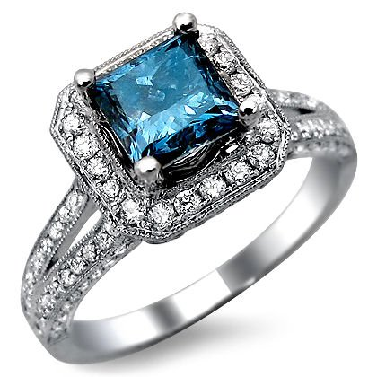 Where Can I Buy 2.29ct Blue Princess Cut Diamond Engagement Ring 18k White Gold