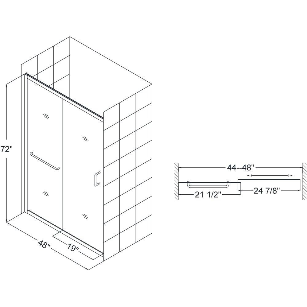 "DreamLine Infinity-Z 44-48 in. Width,Semi - Framed Sliding Shower Door, 1/4"" Glass, Brushed Nickel Finish"