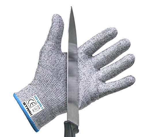 Cut Resistant Gloves by Stark Safe (Large) - Best Food Grade Kitchen Level 5 Cut Protection - Lightweight, Breathable, and Extra Comfortable - Available in Sizes Medium, Large, XXL - Protect Your Hands Today!