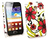 Emartbuy Samsung S7500 Galaxy Ace Plus Red Hawaiian Flowers Clip On Protection Case/Cover/Skin