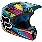 Fox Racing Undertow Youth V1 MX Motorcycle Helmet - Green/Blue / Medium