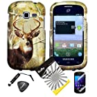 4 items Combo: ITUFFY LCD Screen Protector Film + Mini Stylus Pen + Case Opener + Pine Tree Leaves Deer Camouflage Outdoor Mountain Wildlife Design Rubberized Snap on Hard Shell Cover Faceplate Skin Phone Case for Samsung Galaxy Centura S738C / Samsung Galaxy Discover S730G (Straight Talk / Net10/ TracFone)