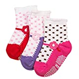 Happy Cherry - (Pack de 4 pares) Calcetines Zapatos Antideslizantes para beb�s ni�os ni�as 1-3 a�os