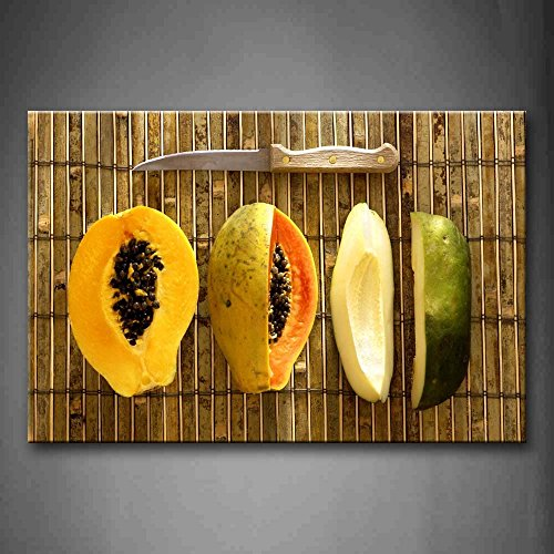 Yellow Orange Some Papayas With Knife. Wall Art Painting Pictures Print On Canvas Food The Picture For Home Modern Decoration
