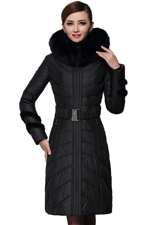 queenshiny Damen Lange Daunenjacke Mantel mit Fuchs Pelz kragen mit Kapuze Winter günstig kaufen