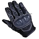 MOTORCYCLE SUMMER RIDING SHORT LEATHER GLOVES BLACK M
