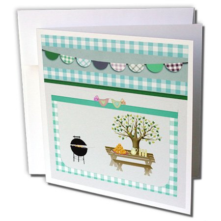 Gc_182716_2 Beverly Turner Picnic Design - Barbeque Pit, Picnic Table With Platter And Lemon Aid, Aqua Green Gingham - Greeting Cards-12 Greeting Cards With Envelopes