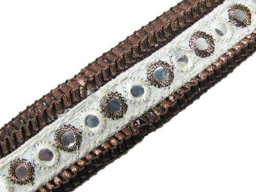 Ribbon Bronze White Mirror Sequin Ribbon Trim Lace 3 Yd