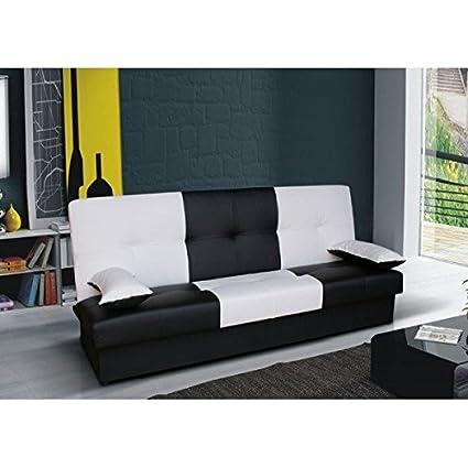 Clic-clac bicolore JUNON noir et blanc simili cuir