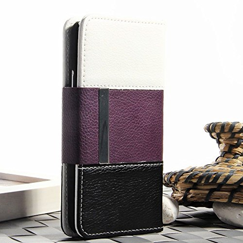 Mylife (Tm) Plum Purple, Graphite Black And Snow White - Modern Design - Koskin Faux Leather (Card, Cash And Id Holder + Magnetic Detachable Closing + Hand Strap) Slim Wallet For New Galaxy S5 (5G) Smartphone By Samsung (External Rugged Synthetic Leather