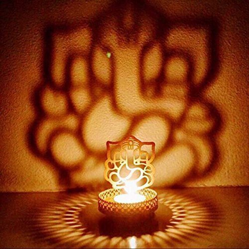 A To Z Traders, Shadow Ganesh Ji Tealight Candle Holder Home Decor Diwali Gift Decoration for your Home Temple and 1 Free Hand Shape LED Keychain
