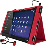 "iGadgitz Premium Red PU Leather Folio Case Cover for Sony Xperia Z2 Tablet SGP511 10.1"" with Multi-Angle Viewing Stand + Auto Sleep/Wake + Hand Strap + Stylus Pen Holder + Screen Protector"