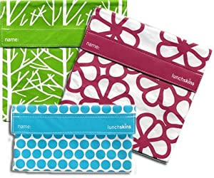 Lunchskins 3pk Reusable Sandwich Bags: Flower Tree Dot