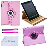 *BLING* 360 Rotating iPad 3 Pink Leather Case with (Zebra Bling) Sparkling Rhinstone Details / One (Purple) Stylus / One (Hot Pink) Stylus – ECO-FUSED® Microfiber Cleaning Cloth 5.5×3.0″ included – compatible with iPad 2 and iPad 3