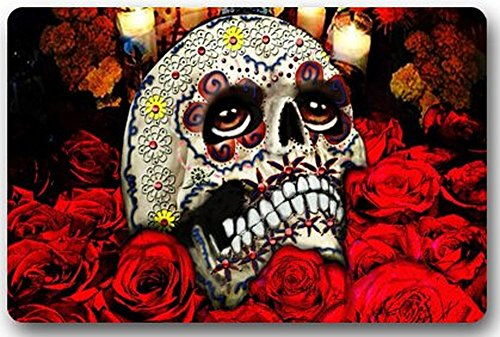 Old Tin Sign Concert Posters Dia De Los Muertos Suger Skull and Flower Rectangle Entryways Thickness Metal Poster