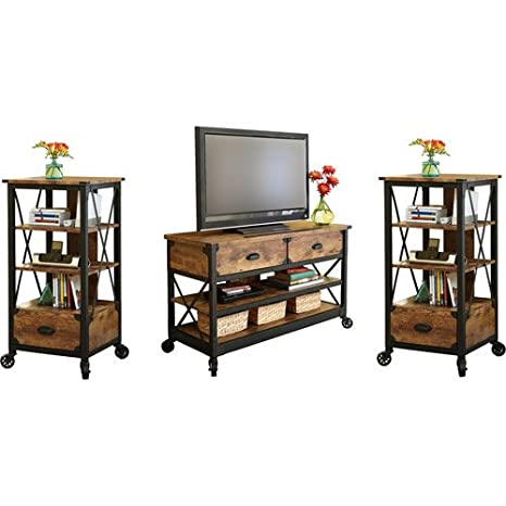 "3 Piece Rustic Antiqued Look Country Entertainment Center, for TVs up to 52"" and Media Storage Cabinets"
