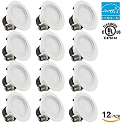 12 PACK 4 inch Dimmable Recessed LED Downlight, 12W (85W Equivalent), ENERGY STAR, 2700K Soft White, 850lm, Retrofit LED Recessed Lighting Fixture, 5 YEARS WARRANTY