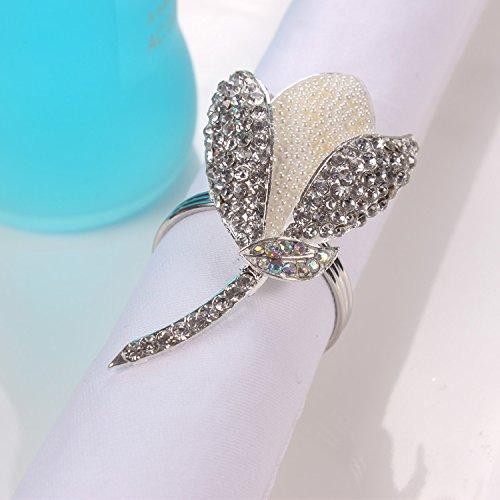QFL Boucles de la serviette anneau strass Tulip serviette repas serviette anneaux alliage