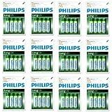 """Lot de 48 Philips Piles de Zinc-Carbone """"Long Life"""" Piles AA, 1.5V Neuves Sous Blisters !!!"""