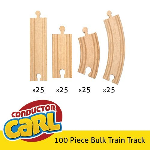 100 pieces of bulk wooden train track by conductor carl compatible with all maj ebay. Black Bedroom Furniture Sets. Home Design Ideas