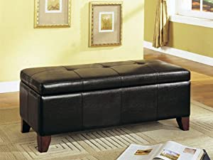 Amazon.com: Storage Bench with Wooden Legs Brown Bycast ...
