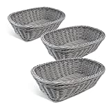Colorbasket 31404-104 Hand Woven Waterproof Rectangular Basket, Gray, Set of 3