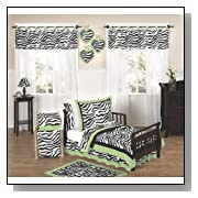 Lime Funky Zebra Toddler Bedding 5 pc set by Sweet Jojo Designs