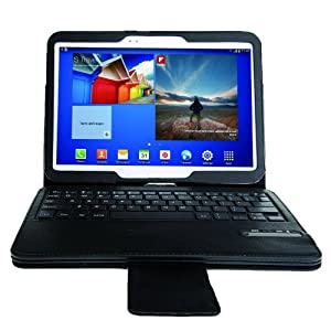 IVSO Samsung Galaxy Tab 3 10.1 Bluetooth Keyboard Portfolio Case - DETACHABLE Bluetooth Keyboard Stand Case / Cover for Samsung Galaxy Tab 3 10.1 Tablet (Black)