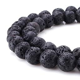 Beadnova Black Lava Stone Rock Gemstone Gem Round Loose Beads for Jewelry Making Findings Accessories(10mm x 1 Strand)