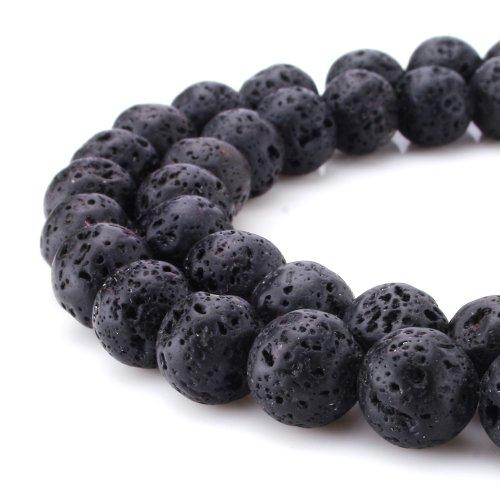 BEADNOVA 10mm Black Lava Rock Stone Gemstone Gem Round Loose Beads for Jewelry Making (38-40pcs) (Gem Stones For Jewelry Making compare prices)