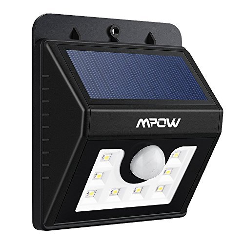 LED Solar Motion Sensor Lights Mpow 3-in-1 Waterproof Solar Energy Powered Security Light Outdoor Bright Light Wall Lamp with 3 Intelligient Modes for Garden, Outdoor, Fence, Patio, Deck, Yard, Home, Driveway, Stairs, Outside Wall etc.( 8 Bright Nodes )