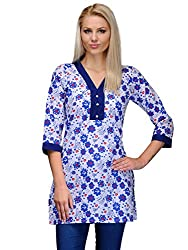 Curvy Q White And Blue Womens Kurti